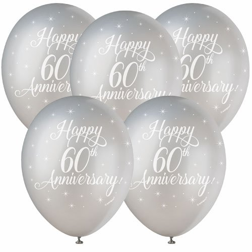 Happy 60th Anniversary Biodegradable Assorted Latex Balloons 30cm / 12 in - Pack of 5 Product Image