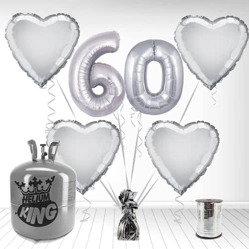 Happy 60th Anniversary Supershape Foil Balloon and Helium Gas Package Product Image