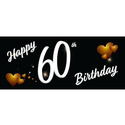 Happy 60th Birthday Black PVC Party Sign Decoration 60cm x 25cm Product Image