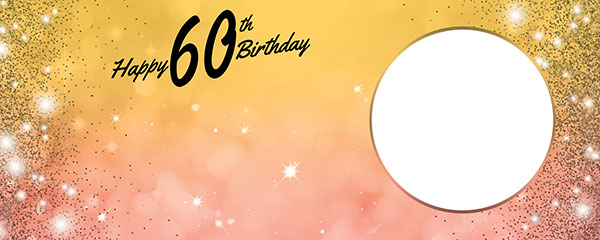 Happy 60th Birthday Sparkles Gold Pink Design Medium Personalised Banner – 6ft x 2.25ft