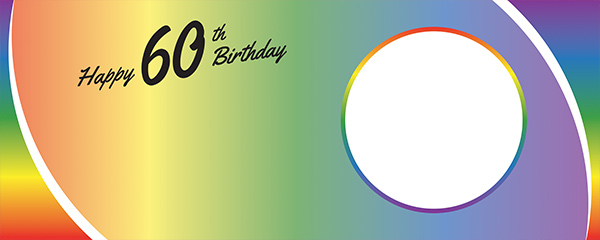 Happy 60th Birthday Rainbow Ombre Design Small Personalised Banner – 4ft x 2ft