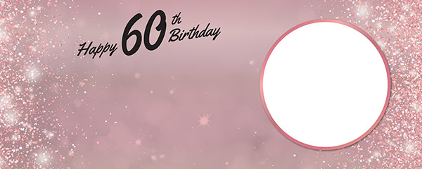 Happy 60th Birthday Rose Gold Sparkles Design Small Personalised Banner 4ft x 2ft
