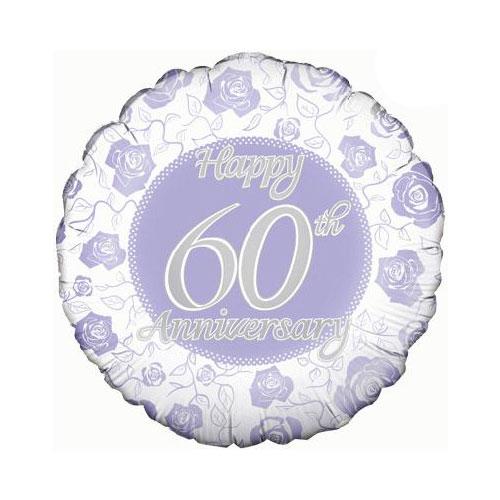 Happy 60th Diamond Anniversary Round Foil Helium Balloon 46cm / 18 in Product Image