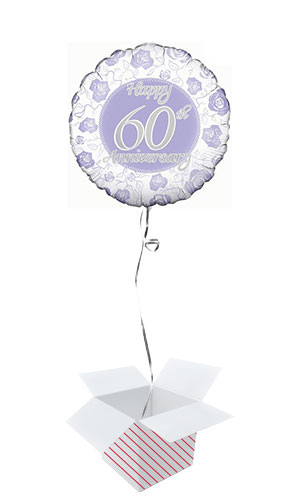 Happy 60th Diamond Anniversary Round Foil Helium Balloon - Inflated Balloon in a Box Product Image