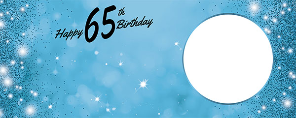 Happy 65th Birthday Sparkles Baby Blue Design Medium Personalised Banner – 6ft x 2.25ft