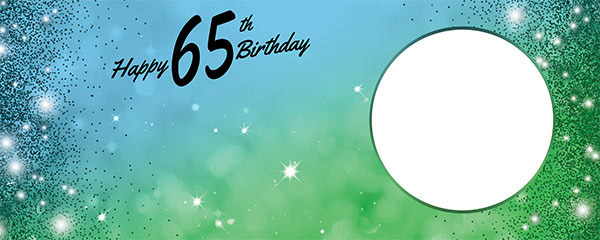 Happy 65th Birthday Sparkles Blue Green Design Small Personalised Banner – 4ft x 2ft
