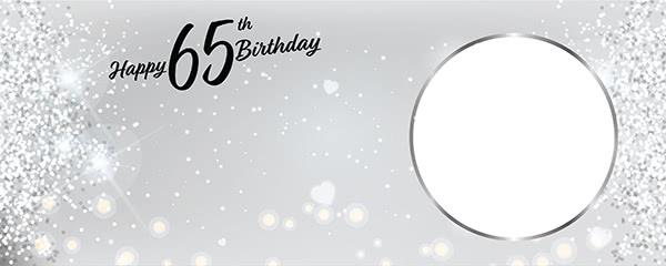 Happy 65th Birthday Milestone Light Design Small Personalised Banner - 4ft x 2ft
