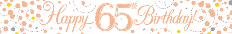 Happy 65th Birthday Rose Gold Holographic Foil Banner 2.7m Product Image