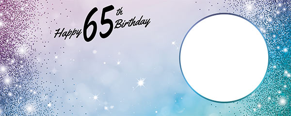 Happy 65th Birthday Sparkles Blue Pink Design Small Personalised Banner – 4ft x 2ft