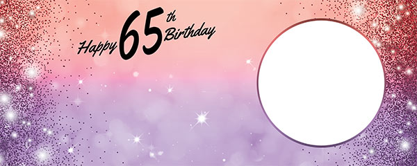 Happy 65th Birthday Sparkles Red Purple Design Small Personalised Banner – 4ft x 2ft