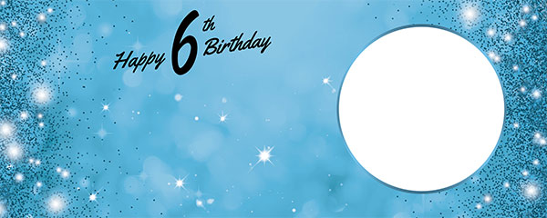 Happy 6th Birthday Sparkles Baby Blue Design Medium Personalised Banner – 6ft x 2.25ft