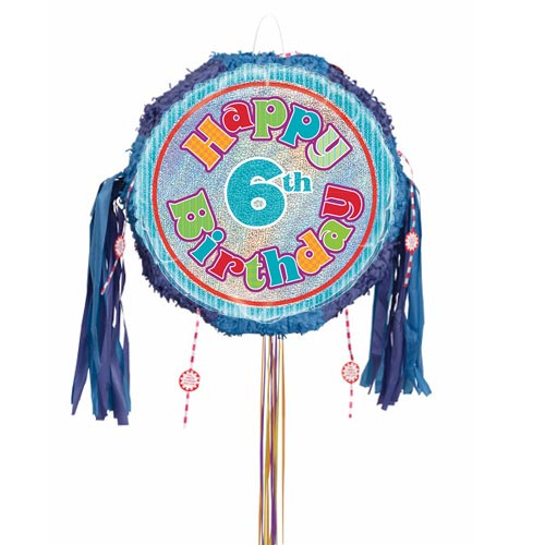 Happy 6th Birthday Holographic Pull String Pinata Product Image