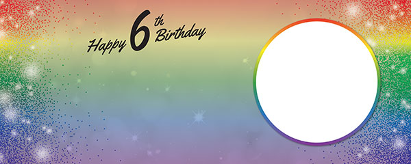 Happy 6th Birthday Rainbow Sparkles Design Small Personalised Banner – 4ft x 2ft