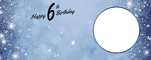 Happy 6th Birthday Sparkles Royal Blue Design Medium Personalised Banner – 6ft x 2.25ft