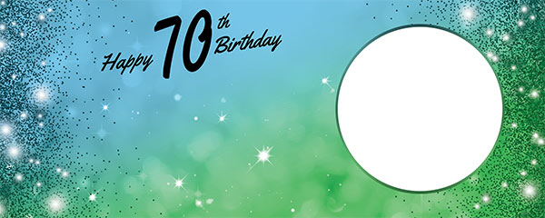 Happy 70th Birthday Sparkles Blue Green Design Small Personalised Banner – 4ft x 2ft