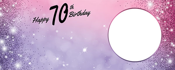 Happy 70th Birthday Sparkles Pink Purple Design Small Personalised Banner – 4ft x 2ft