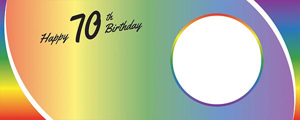 Happy 70th Birthday Rainbow Ombre Design Medium Personalised Banner – 6ft x 2.25ft
