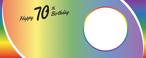 Happy 70th Birthday Rainbow Ombre Design Small Personalised Banner – 4ft x 2ft