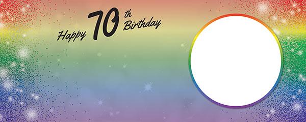 Happy 70th Birthday Rainbow Sparkles Design Medium Personalised Banner – 6ft x 2.25ft