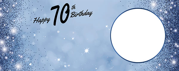 Happy 70th Birthday Sparkles Royal Blue Design Medium Personalised Banner – 6ft x 2.25ft