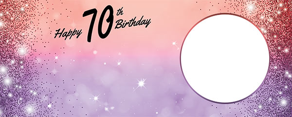 Happy 70th Birthday Sparkles Red Purple Design Small Personalised Banner – 4ft x 2ft