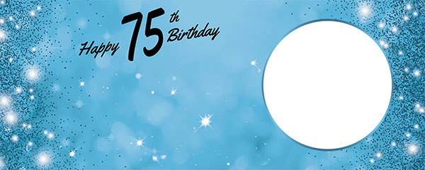Happy 75th Birthday Sparkles Baby Blue Design Medium Personalised Banner – 6ft x 2.25ft