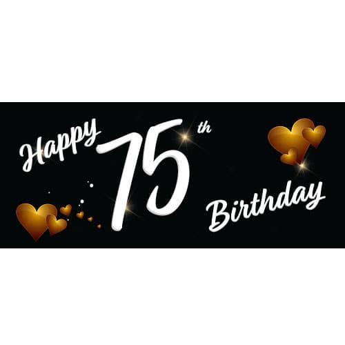 Happy 75th Birthday Black PVC Party Sign Decoration 60cm x 25cm Product Image