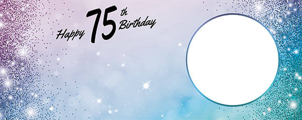 Happy 75th Birthday Sparkles Blue Pink Design Medium Personalised Banner – 6ft x 2.25ft
