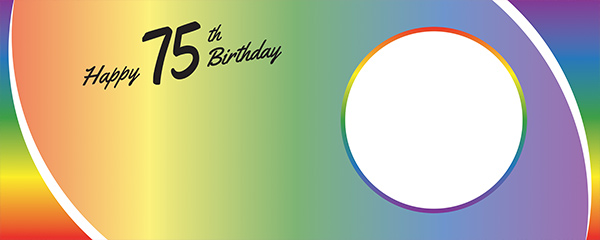 Happy 75th Birthday Rainbow Ombre Design Medium Personalised Banner – 6ft x 2.25ft