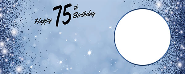 Happy 75th Birthday Sparkles Royal Blue Design Small Personalised Banner – 4ft x 2ft