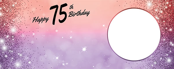 Happy 75th Birthday Sparkles Red Purple Design Small Personalised Banner – 4ft x 2ft