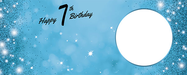 Happy 7th Birthday Sparkles Baby Blue Design Medium Personalised Banner – 6ft x 2.25ft