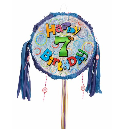 Happy 7th Birthday Holographic Pull String Pinata Product Image