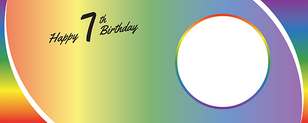 Happy 7th Birthday Rainbow Ombre Design Small Personalised Banner – 4ft x 2ft