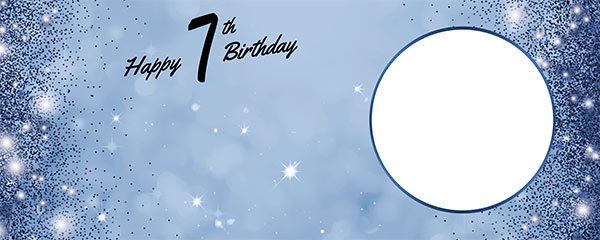 Happy 7th Birthday Sparkles Royal Blue Design Medium Personalised Banner – 6ft x 2.25ft