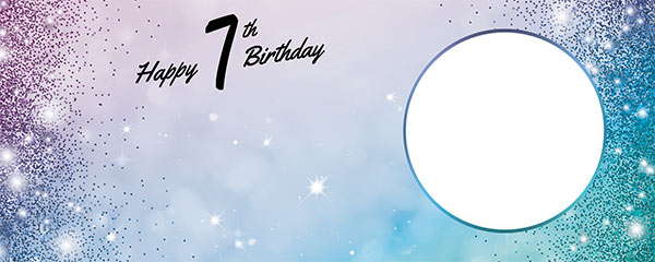 Happy 7th Birthday Sparkles Blue Pink Design Medium Personalised Banner – 6ft x 2.25ft