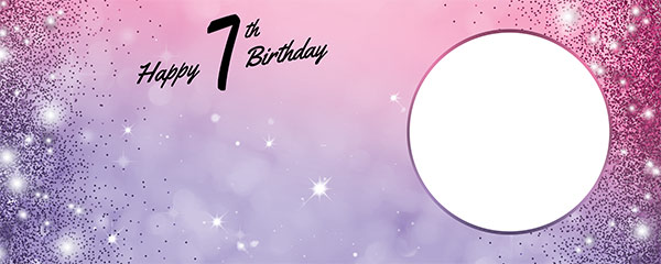 Happy 7th Birthday Sparkles Pink Purple Design Medium Personalised Banner – 6ft x 2.25ft