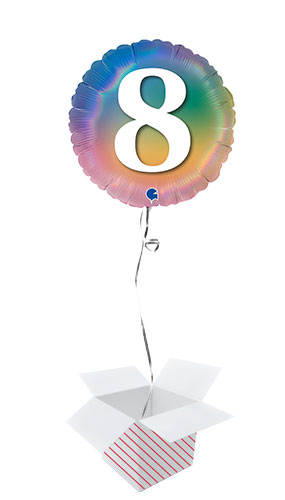 Age 8 Colourful Rainbow Holographic Round Foil Helium Balloon - Inflated Balloon in a Box