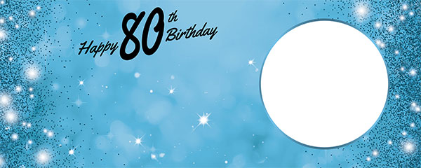 Happy 80th Birthday Sparkles Baby Blue Design Medium Personalised Banner – 6ft x 2.25ft