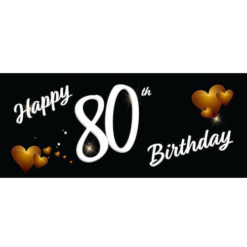 Happy 80th Birthday Black PVC Party Sign Decoration 60cm x 25cm Product Image