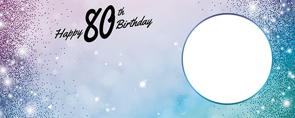 Happy 80th Birthday Sparkles Blue Pink Design Medium Personalised Banner – 6ft x 2.25ft