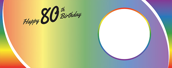 Happy 80th Birthday Rainbow Ombre Design Small Personalised Banner – 4ft x 2ft