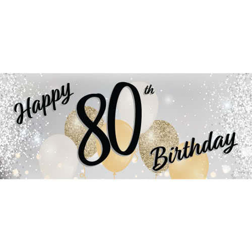 Happy 80th Birthday Silver PVC Party Sign Decoration 60cm x 25cm Product Image
