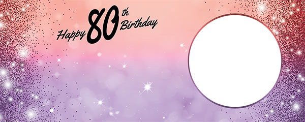 Happy 80th Birthday Sparkles Red Purple Design Medium Personalised Banner – 6ft x 2.25ft