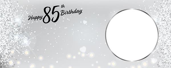 Happy 85th Birthday Milestone Light Design Small Personalised Banner - 4ft x 2ft