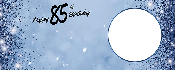 Happy 85th Birthday Sparkles Royal Blue Design Small Personalised Banner – 4ft x 2ft