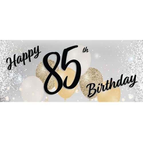 Happy 85th Birthday Silver PVC Party Sign Decoration 60cm x 25cm