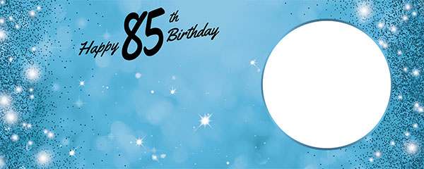 Happy 85th Birthday Sparkles Baby Blue Design Medium Personalised Banner – 6ft x 2.25ft