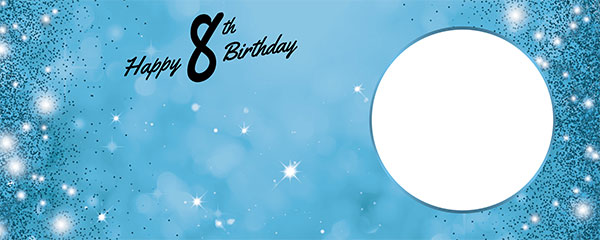 Happy 8th Birthday Sparkles Baby Blue Design Medium Personalised Banner – 6ft x 2.25ft