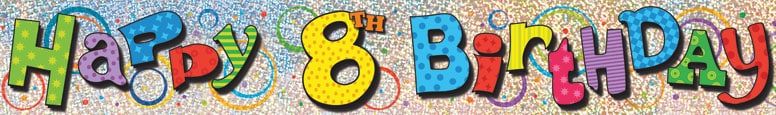 Happy 8th Birthday Prismatic Foil Banner 365cm Product Image